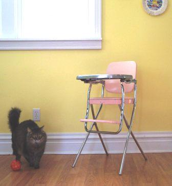 Pink Cosco Highchair, with Cat